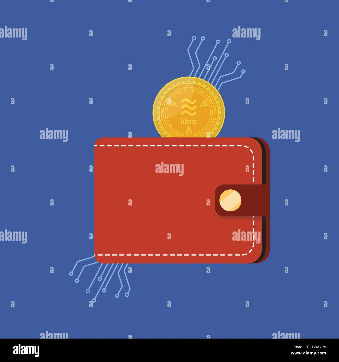 Libra money currency with wallet. Vector illustration - Stock Image