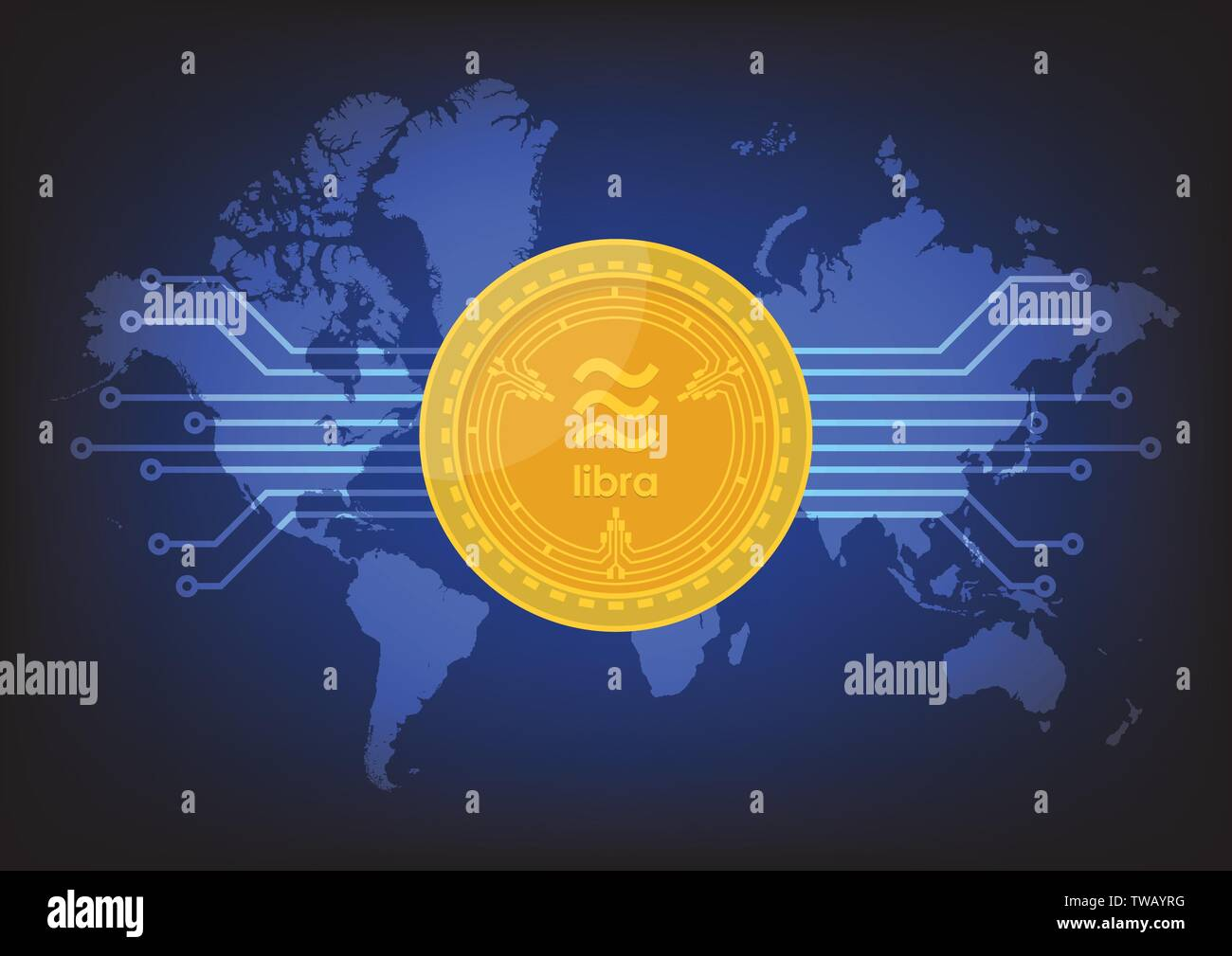 Libra digital currency with world map background. Vector illustration - Stock Image
