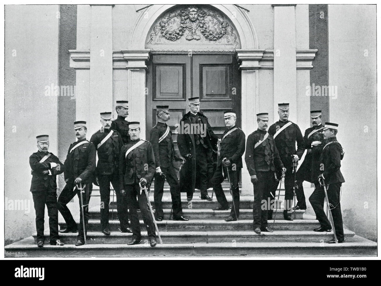 Earl Roberts (who won the Victoria Cross for heroism at Khudaganj)and the Headquarters Staff in Ireland.      Date: 1895-6 Stock Photo