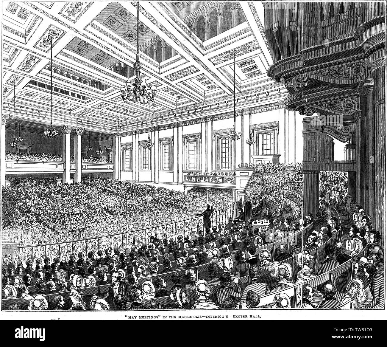 Exeter Hall: interior view, with a large 'May Meeting' in progress (many charitable organisations held their meetings there)     Date: 1844 - Stock Image