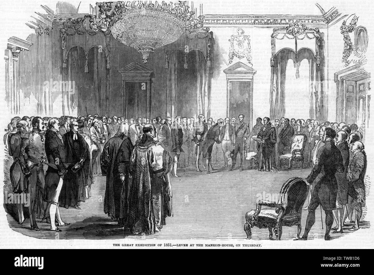 Albert and the Lord Mayor of London hold a levee at the Mansion House, where leading merchants and manufacturers are invited to support the Exhibition project.      Date: 1850 - Stock Image