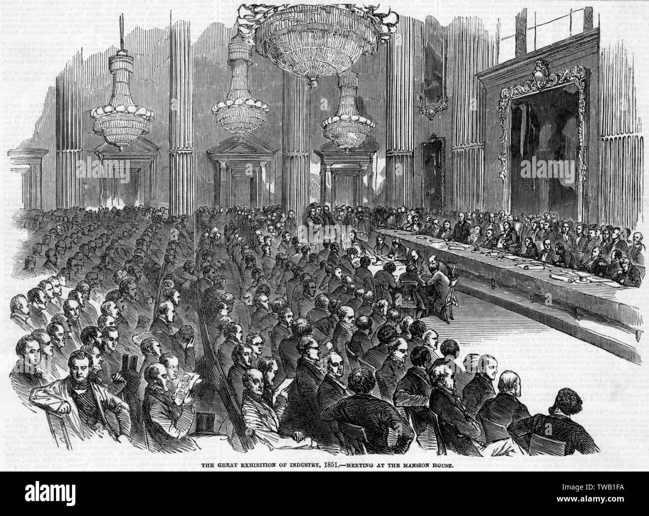 Albert and the Lord Mayor of London hold a meeting at the Mansion House, where leading merchants and manufacturers are invited to support the Exhibition project.      Date: 1850 - Stock Image