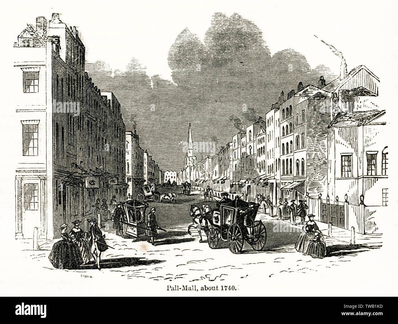 Pall Mall, London.      Date: circa 1740 - Stock Image