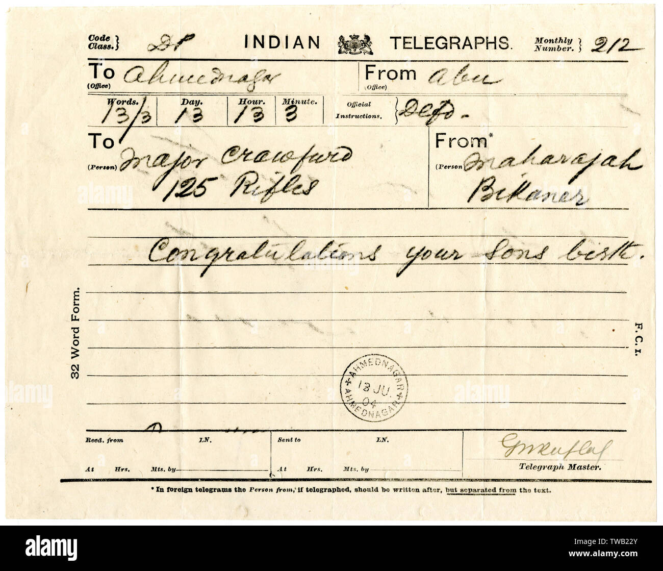 Telegraph sent from Maharaja Bikaner to Major Crawford of the British 125th Rifles, stationed at Ahmednagar in the state of Maharashtra, India, congratulating him on the birth of his son - 19th July 1904. General Maharaja Sir Ganga Singh, GCSI, GCIE, GCVO, GBE, KCB, GCStJ, was the ruling Maharaja of the princely state of Bikaner from 1888 to 1943 (see: 10244200).     Date: 1904 - Stock Image