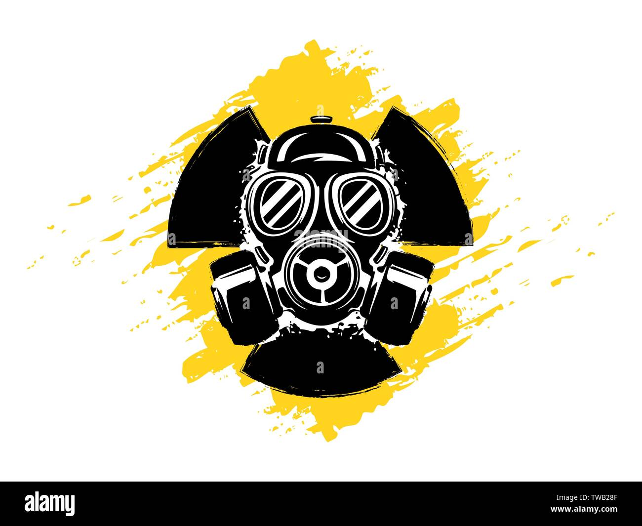 Sign of radioactivity with gas mask grunge vector illustration. Concept of pollution and danger. Radioactive sign. Radioactive hazard. Radioactive tox - Stock Vector