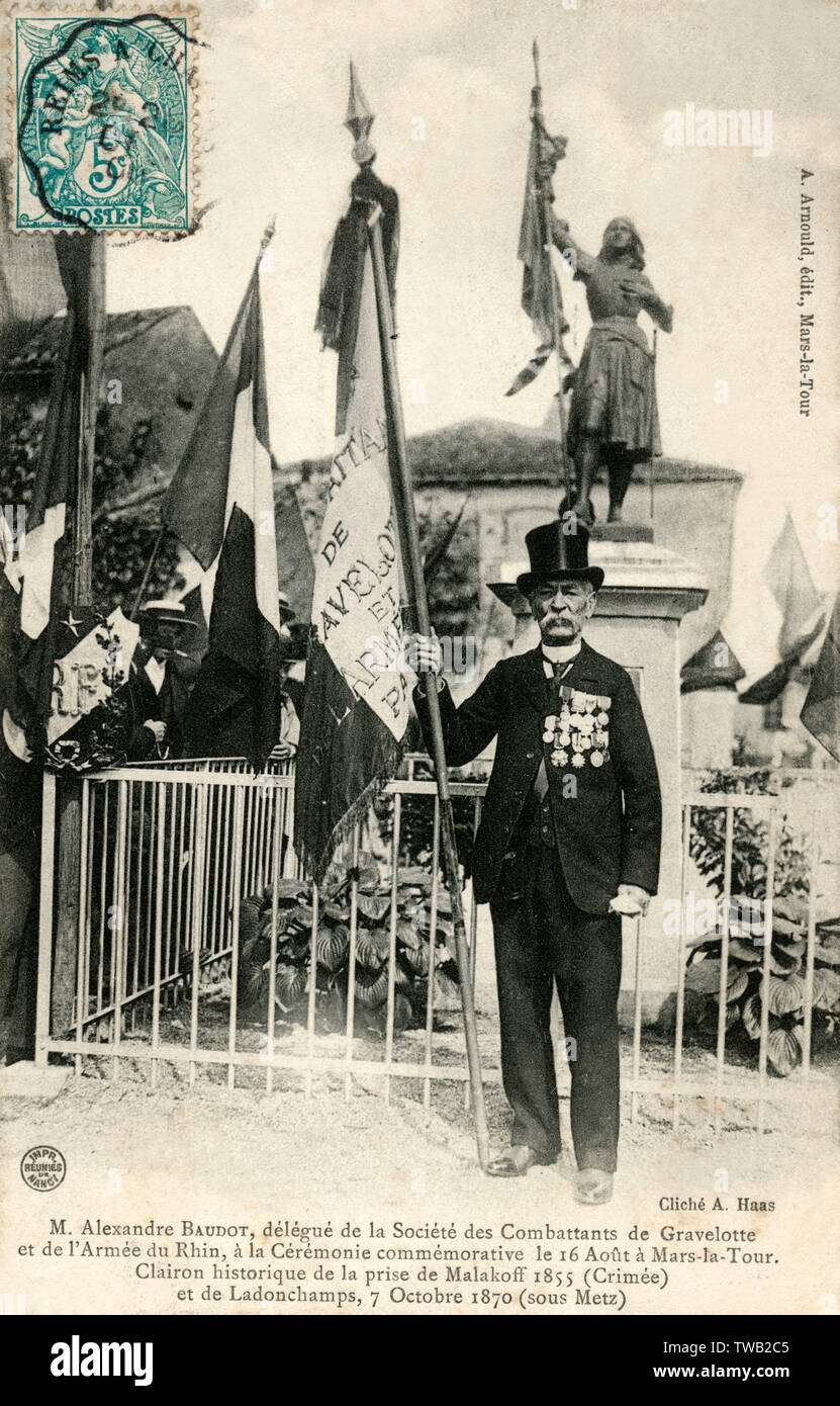 Mr. Jean Louis Alexandre Baudot (1834-1911), delegate of the Society of Combatants of Gravelotte and the Army of the Rhine, at the Commemorative Ceremony on August 16 at Mars-la-Tour. Veteran bugler at the taking of Malakoff 1855 (Crimea) and Ladonchamps, October 7, 1870 (near Metz) - Franco-German War of 1870-1. Baudot, entered the military service as a volunteer in the 1st regiment of Zouaves in 1852, as a bugler, took part in all campaigns of the Second Empire including the seat of Sevastopol in Crimea. Sounded the charge to Malakoff's assault (1855) which earned him to be known as the &quo - Stock Image