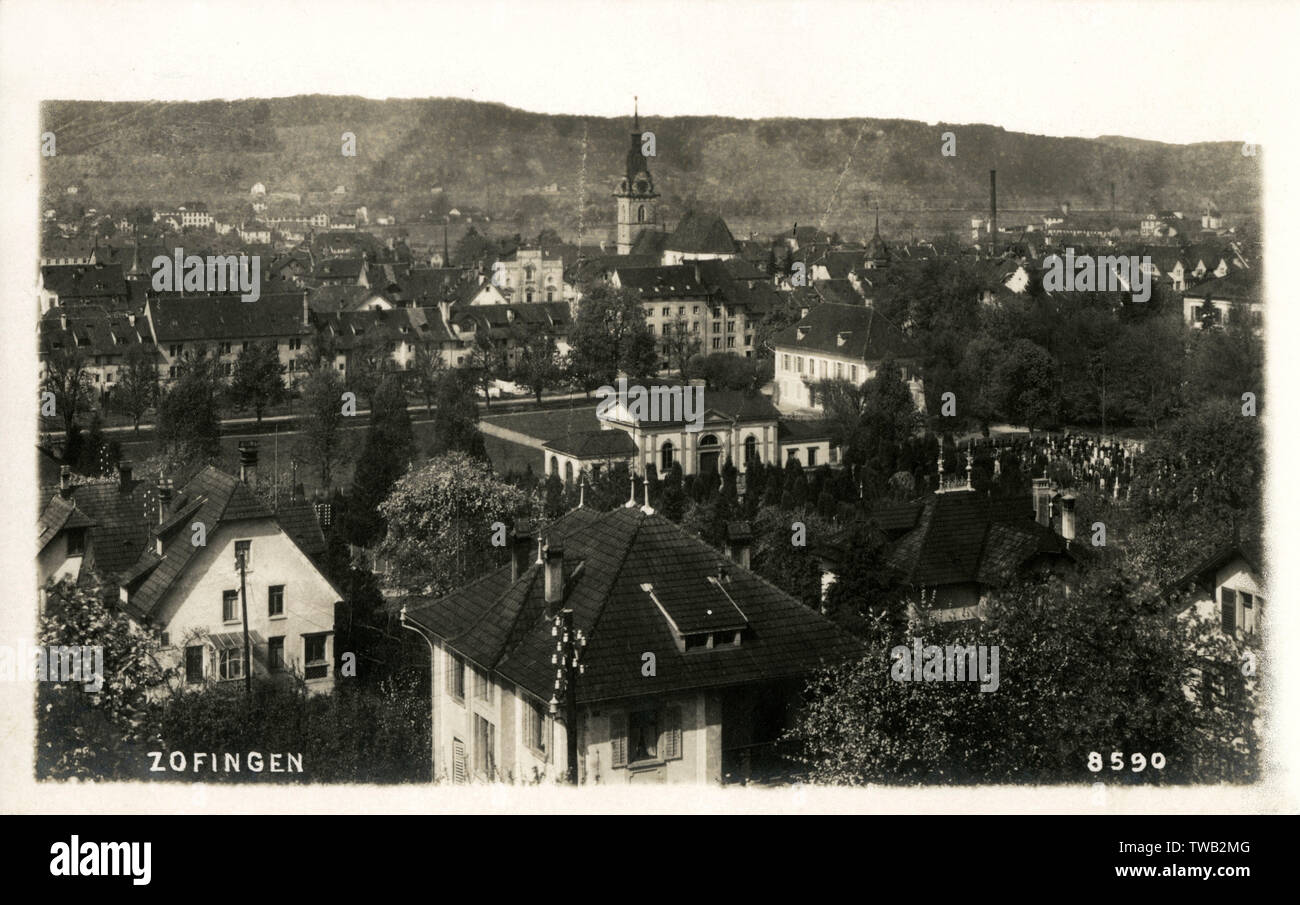 Switzerland - Zofingen - a city in the canton of Aargau.     Date: circa 1920s - Stock Image