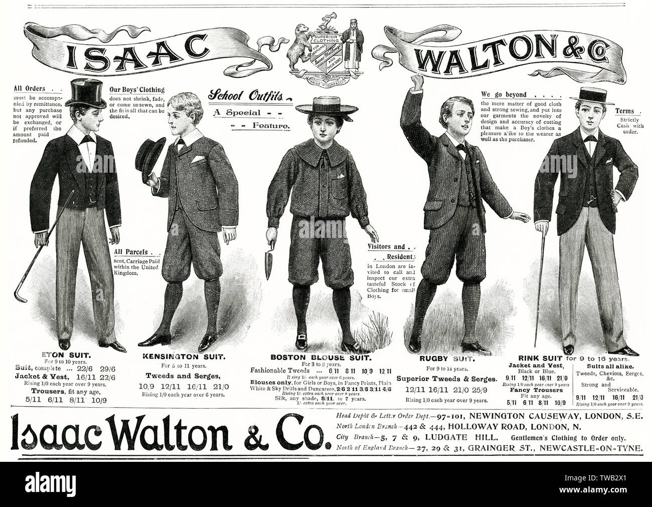 Selection of boys school outfits for 1897 1897 - Stock Image