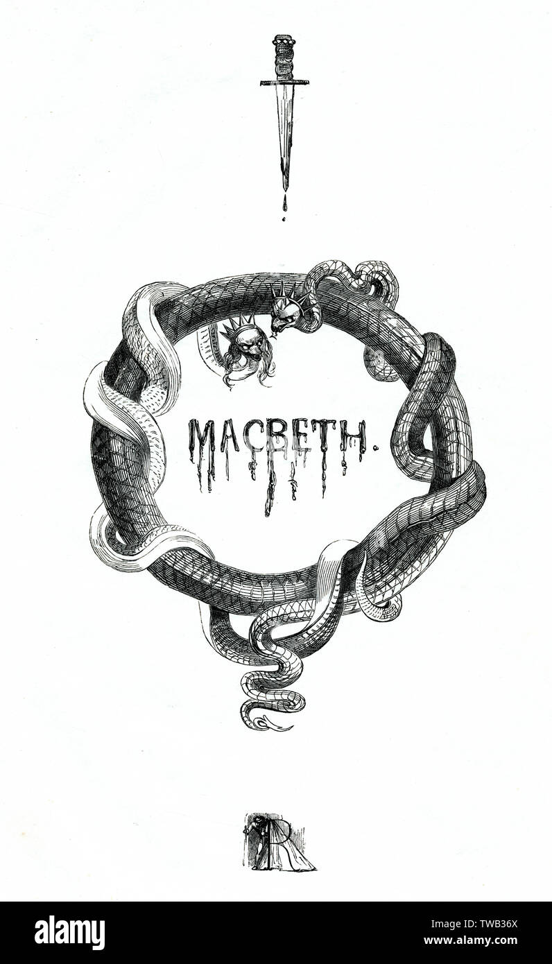 Illustration by Kenny Meadows to Macbeth, by William Shakespeare. Introductory illustration, with snakes wearing crowns, and a dagger dripping with blood.     Date: 1840 - Stock Image