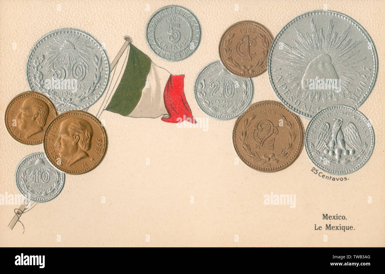Coins of Mexico, Central America and flag.     Date: 1910 - Stock Image