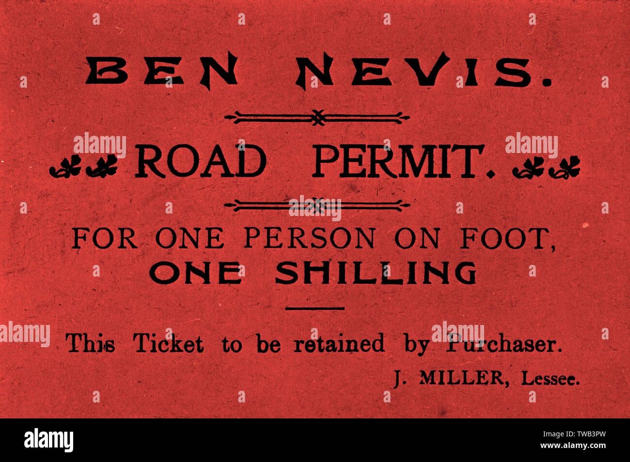 Ticket, Ben Nevis road permit, Lochaber, Scotland - for one