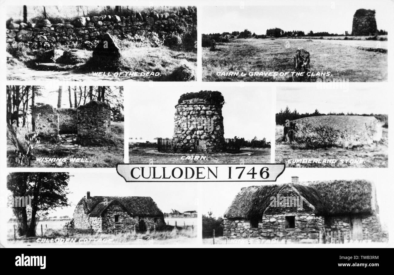 Locations connected with the Battle of Culloden (1746), near Inverness, Scotland - Well of the Dead, Cairn and Graves of the Clans, Wishing Well, Cairn, Cumberland Stone, Culloden Cottage, King's Stables.      Date: circa 1910s - Stock Image
