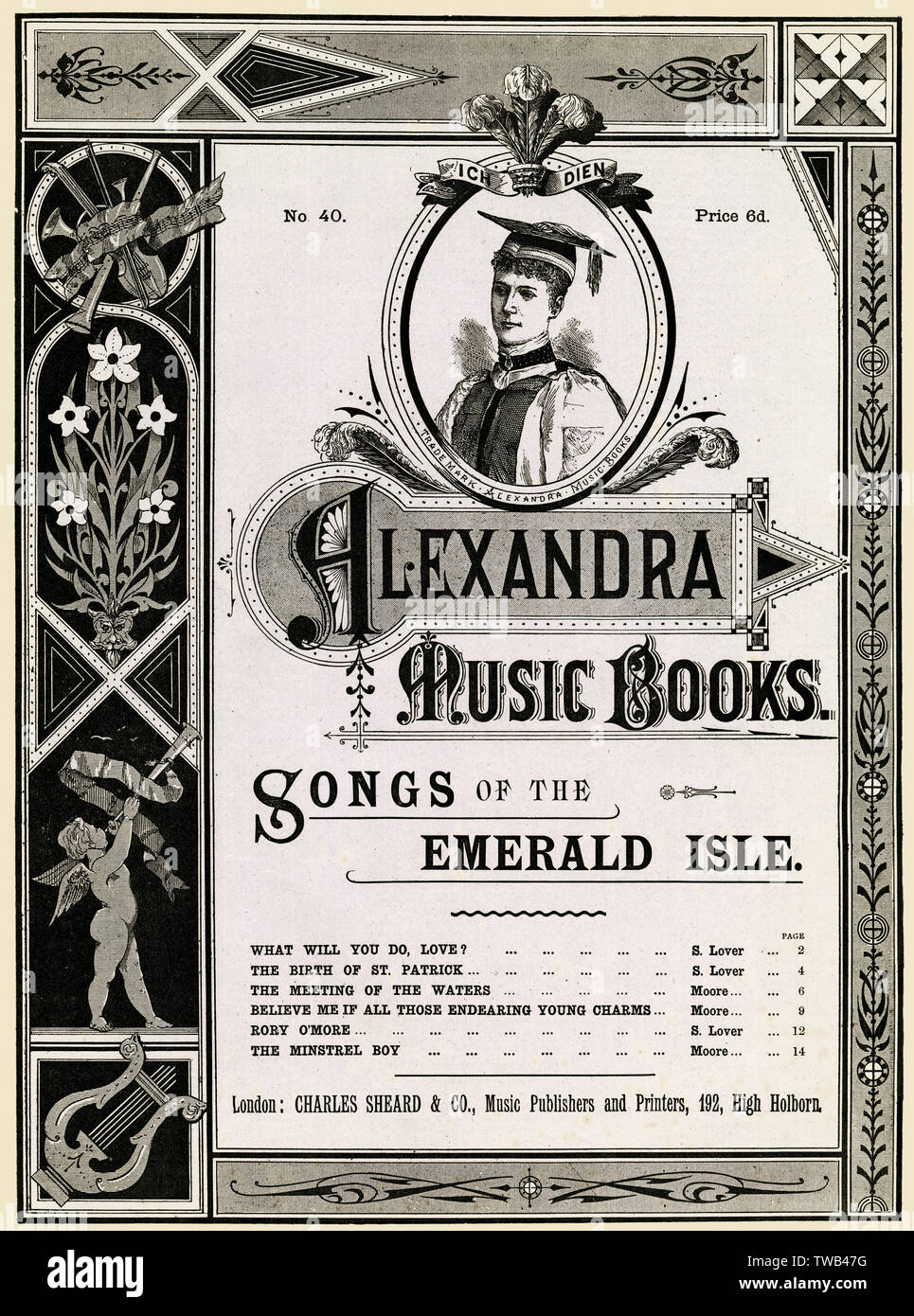 Music cover, Alexandra Music Books, Songs of the Emerald Isle. With a portrait of Princess Alexandra of Wales when she received the honorary degree of Doctor of Music (DMus) at Trinity College, Dublin, in 1885.      Date: late 19th century - Stock Image