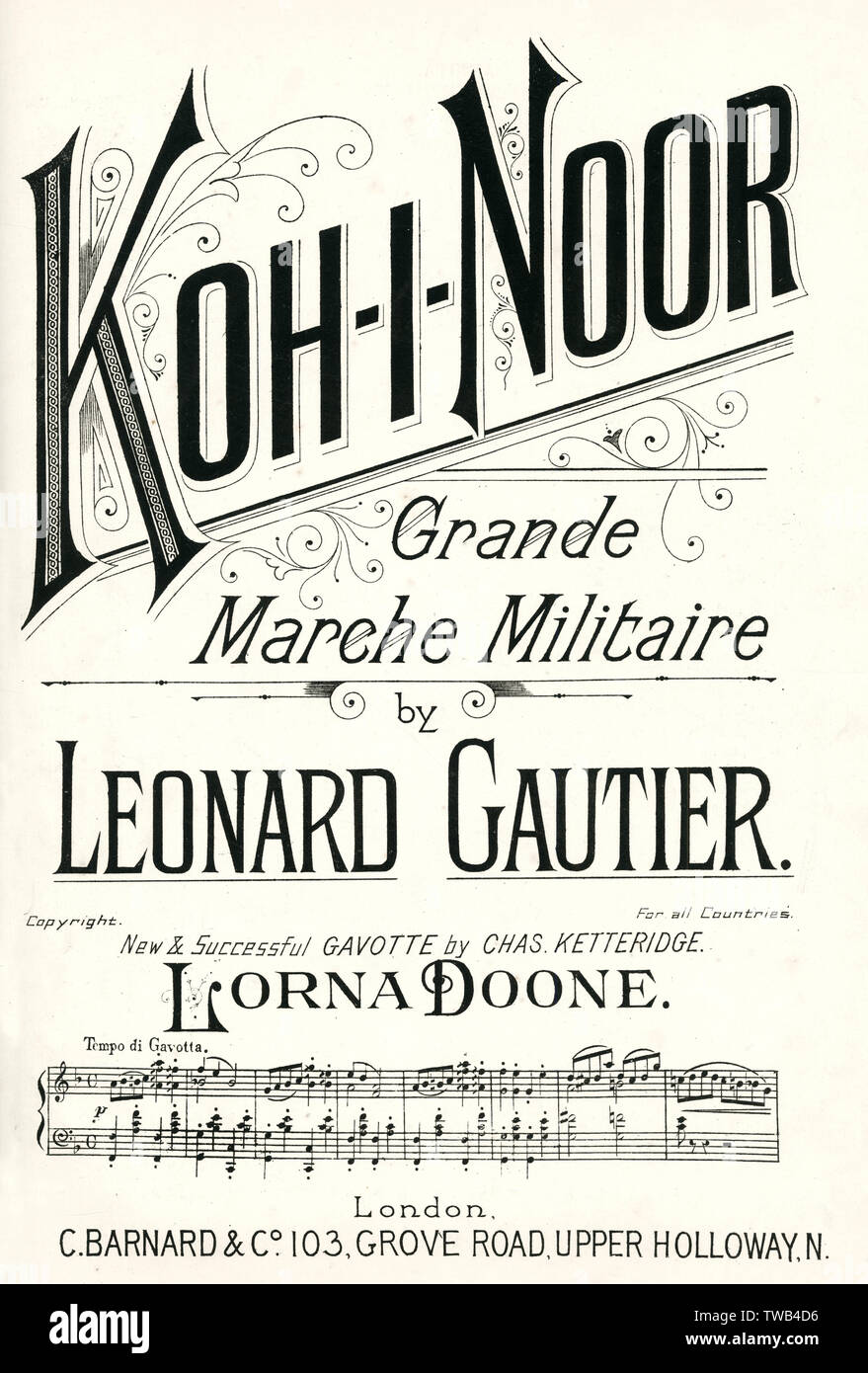 Music cover, Koh-I-Noor, Grande Marche Militaire by Leonard Gautier.      Date: 1900s - Stock Image