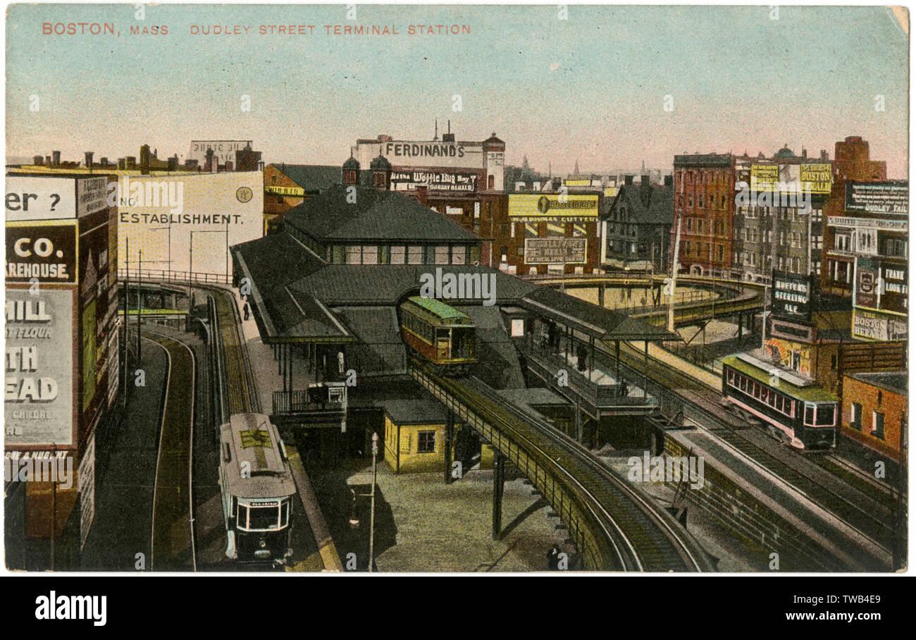 Dudley Street Terminal Station, Boston, Mass, USA.      Date: circa 1908 - Stock Image