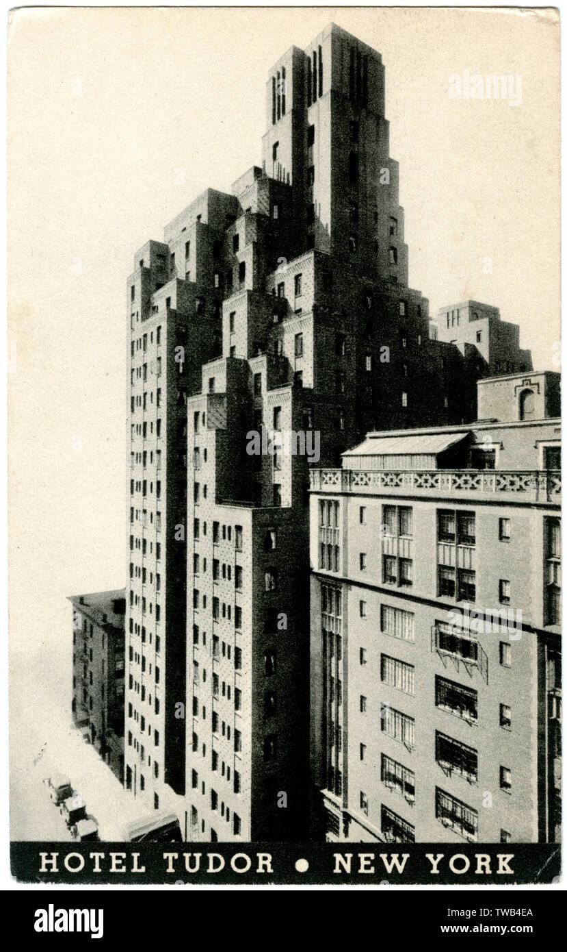 Hotel Tudor, East 42nd Street, New York City, USA.      Date: 1930s - Stock Image