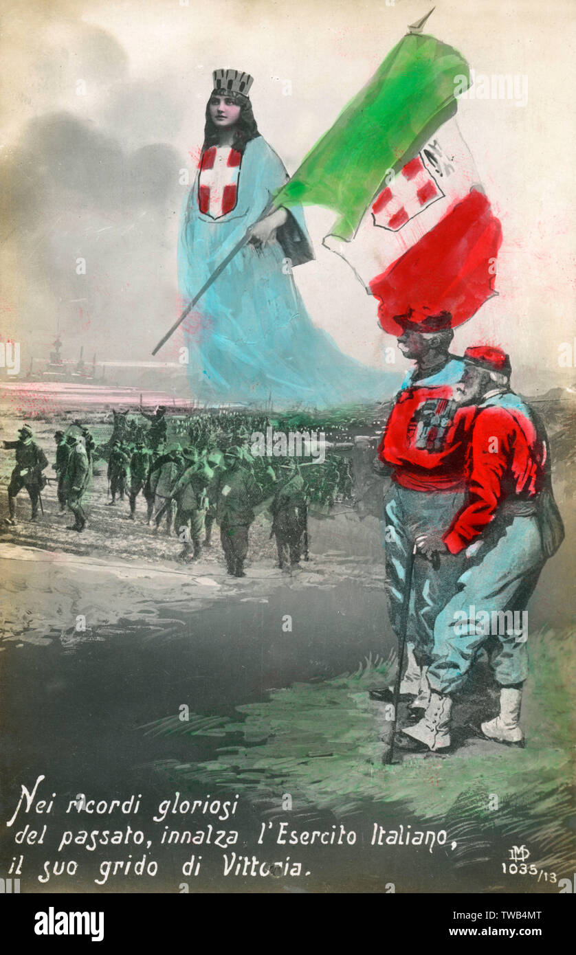 "WW1 - Italy - Remembrance postcard - ""In the glorious memories of the past, she raises the Italian flag - her cry is Victory!""     Date: circa 1917 - Stock Image"