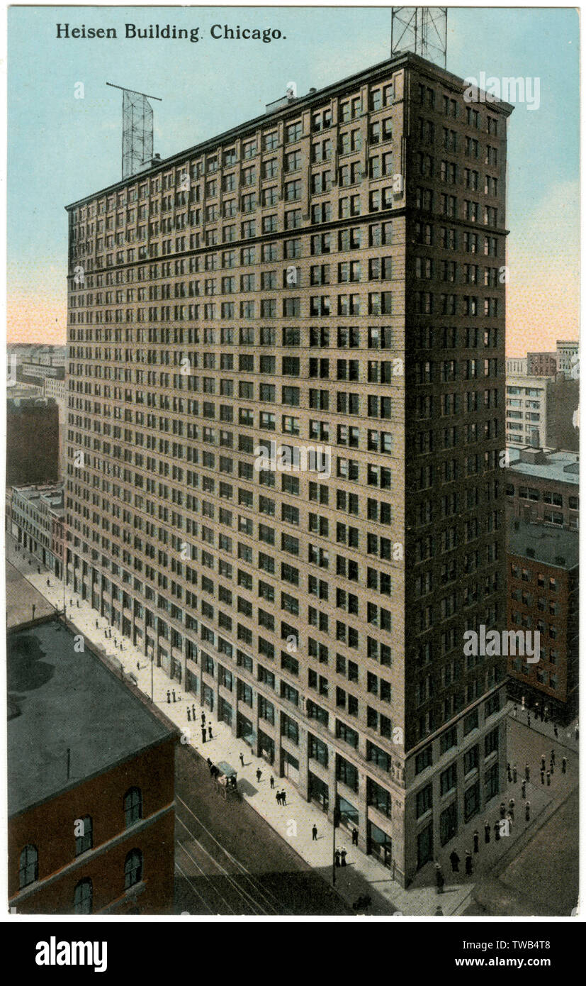 Heisen Building, Chicago, Illinois, USA, on the corner of Harrison Street and Dearborn Street.      Date: 1911 - Stock Image