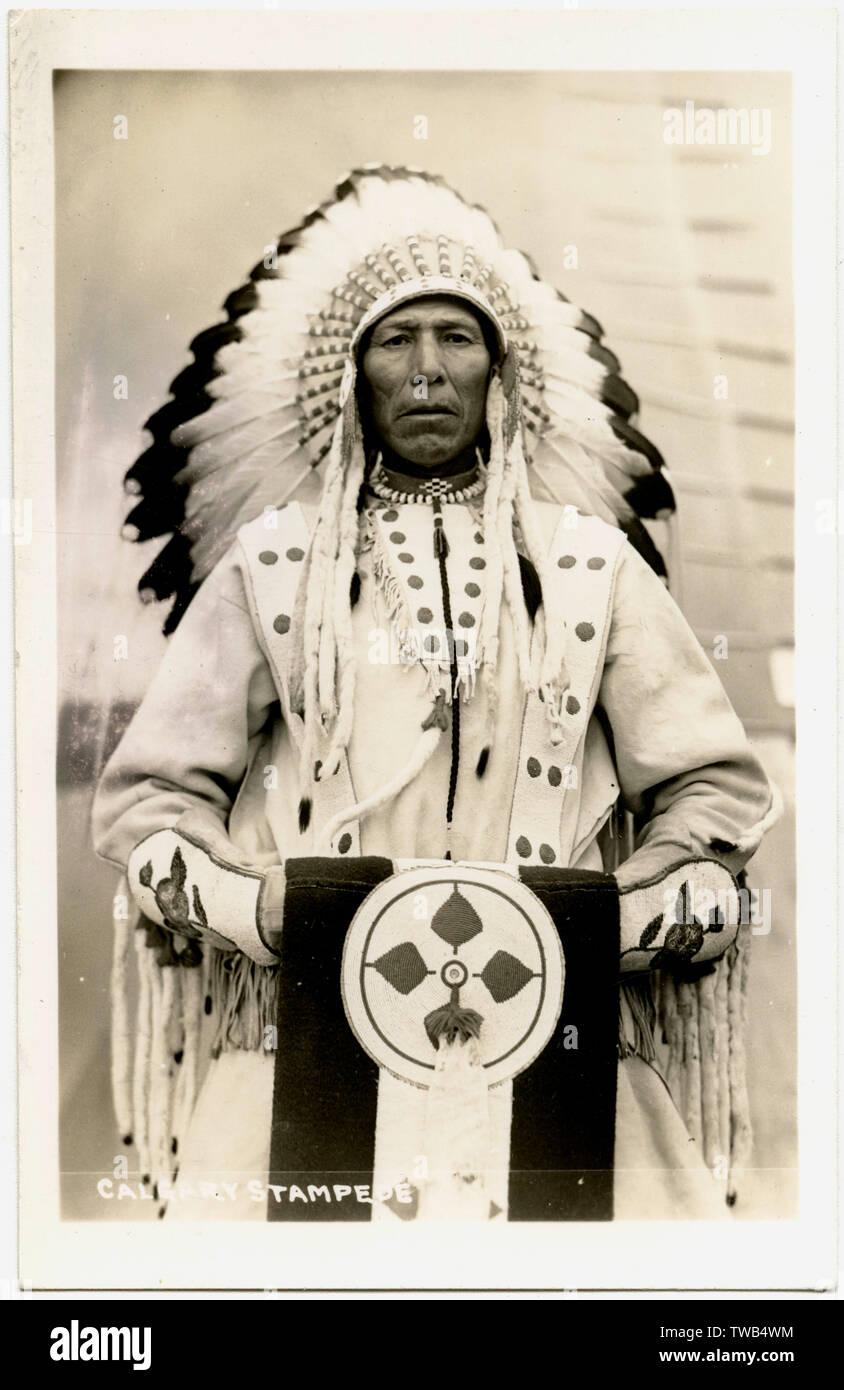 Native Indian Chief, Calgary Stampede, Canada.  circa 1930s - Stock Image