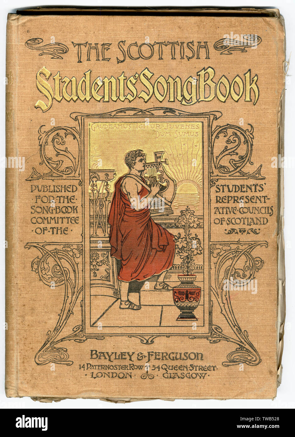 Front cover, The Scottish Students' Song Book, published for the Song Book Committee of the Students' Representative Councils of Scotland. With the Latin motto: Gaudeamus Igitur Juvenes Dum Sumus (Let us rejoice, therefore, while we are young).      Date: 1891 - Stock Image