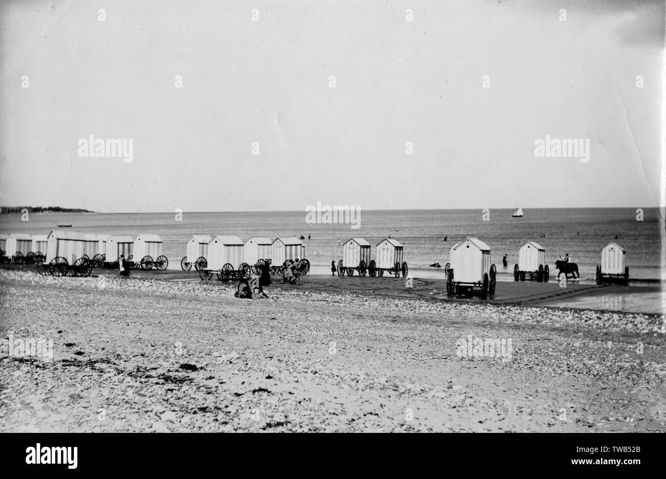 Bathing huts on the beach at Colwyn Bay, North Wales.      Date: circa 1889 Stock Photo