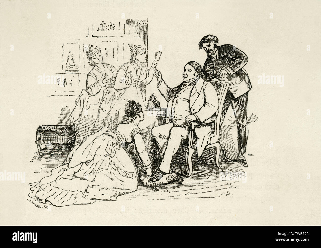 A man is shown being assisted by three women and another man in preparing to have his portrait photographed. One woman appears to be adjusting his feet or cleaning his shoes, while the man can be seen adjusting his head so that it remains in one position, which is necessary due to the long exposure times of cameras.     Date: 19th century - Stock Image