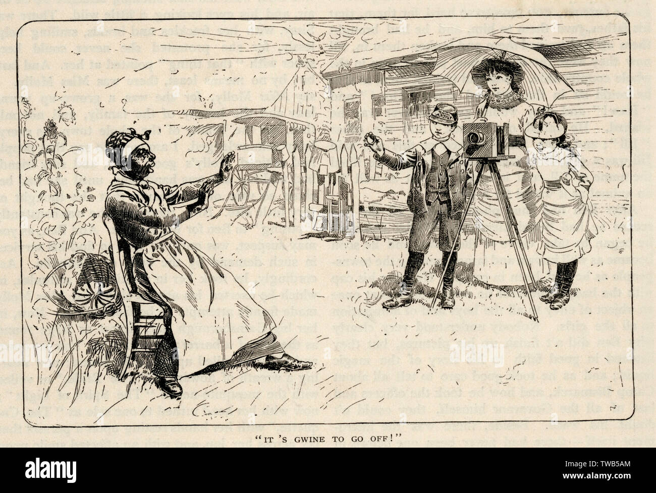 """An anxious woman is shown in panic as she is sitting waiting to have her photograph captured. Beneath the illustration it reads, """"It's gwine to go off!"""" overall  presenting an example of racist attitudes during the time period.      Date: circa 1890s - Stock Image"""