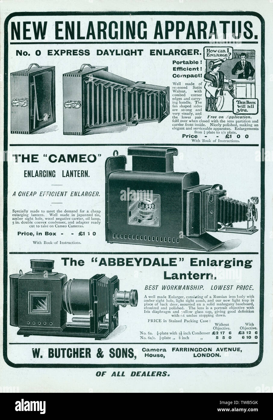 Advertisement from W.Butcher and Sons camera house based in London, England. The advert promotes 3 different enlargers for creating photographic prints.  1905 - Stock Image