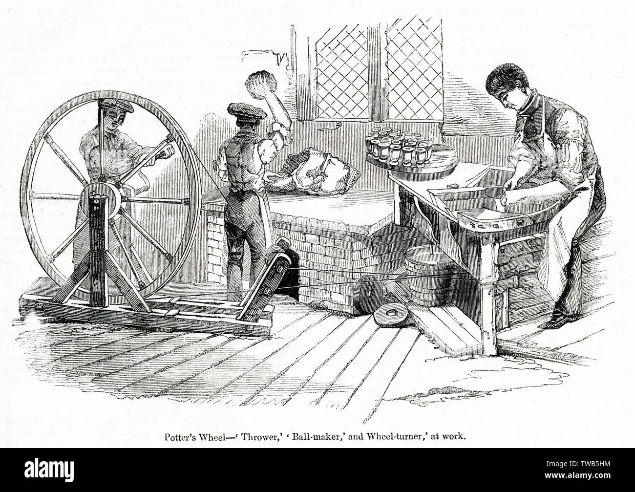 Scene at the Royal Porcelain Works, Worcester -- a potter's wheel, with a thrower, ball maker and wheel turner at work.      Date: 1843 - Stock Image