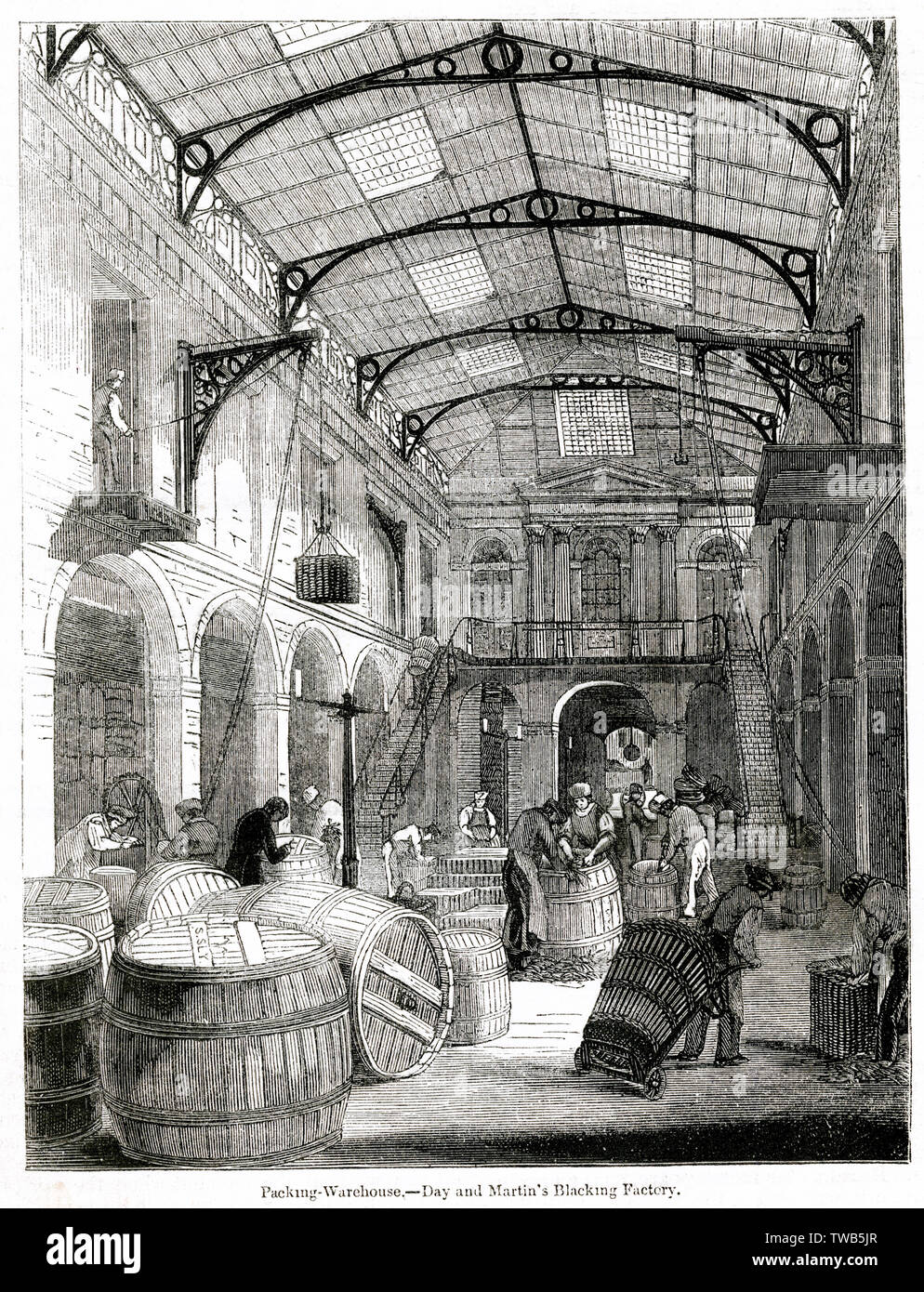 Scene inside the packing warehouse of the Day and Martin blacking factory, Holborn, London.      Date: 1842 - Stock Image