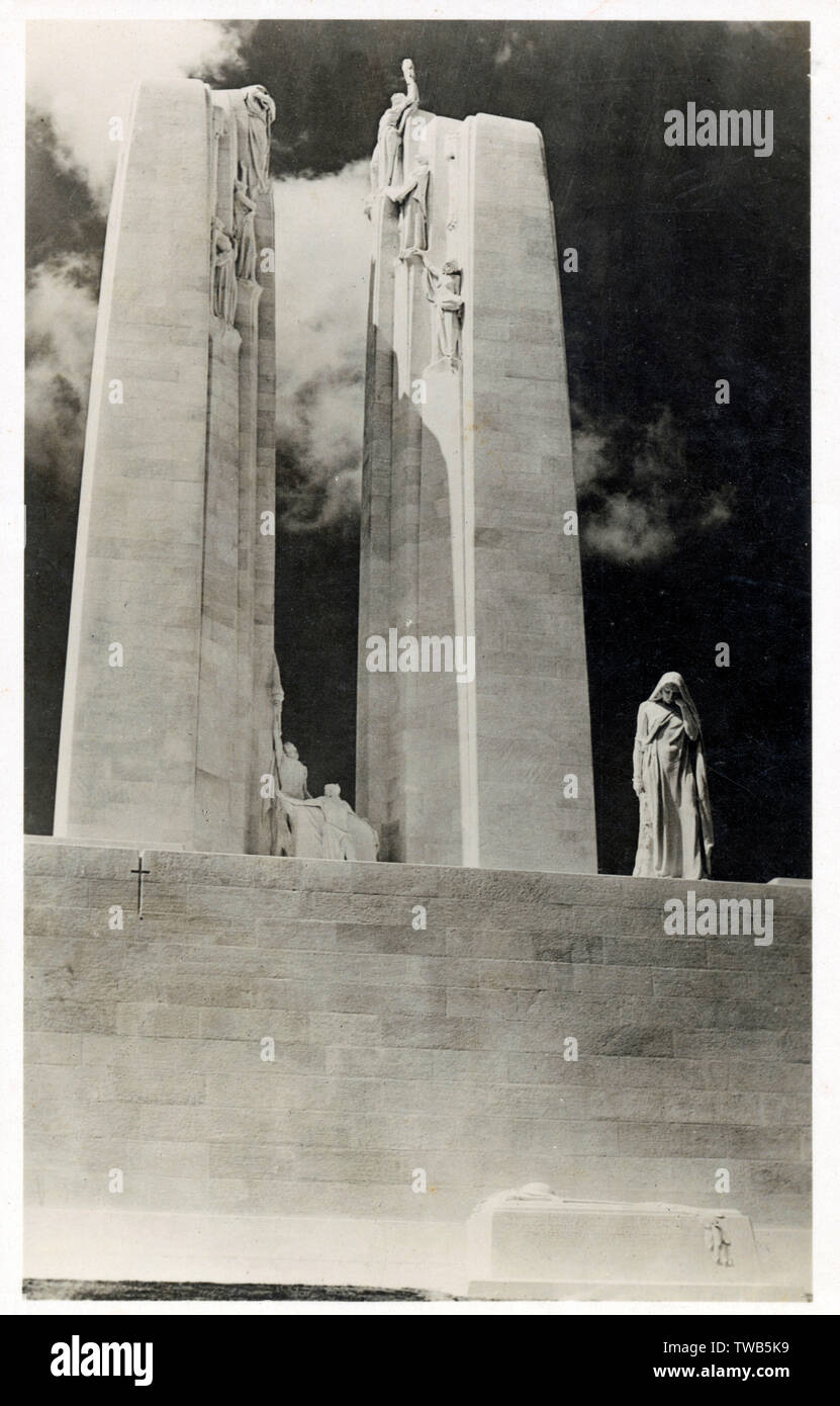 Superb photograph of the Canadian National War Memorial, Vimy Ridge - unveiled by King Edward VIII on July 26th 1936. Erected in memory of the heroic men who fell in the Great War. Sent on the unveiling day.     Date: 1936 - Stock Image