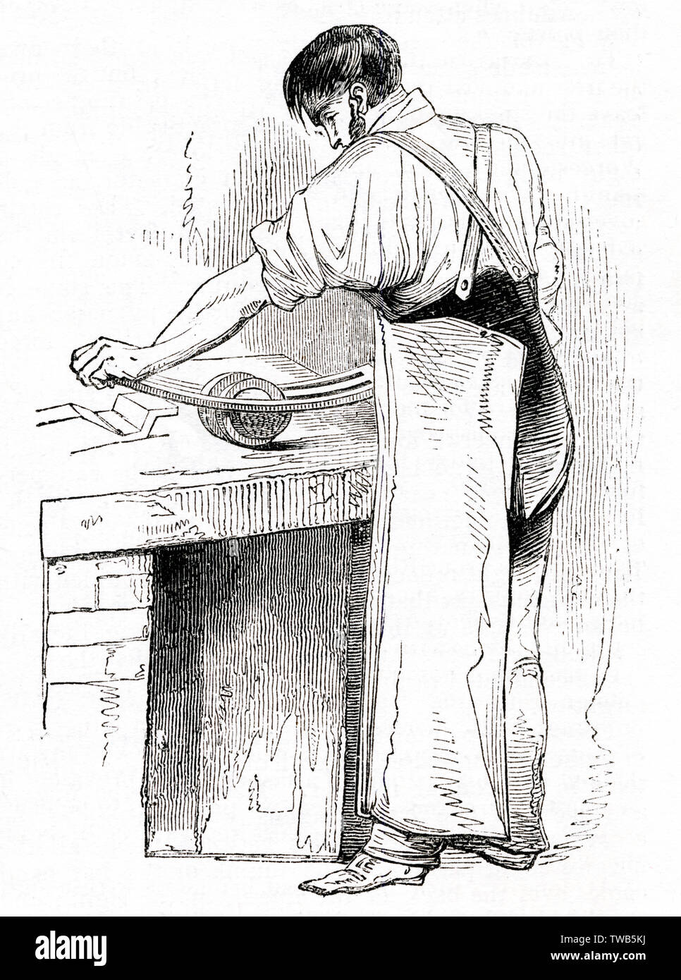 Scene at the British Needle Mills, Redditch, Worcestershire -- man rolling and straightening hot needles using a long piece of metal and two metal rings.        Date: 1843 - Stock Image