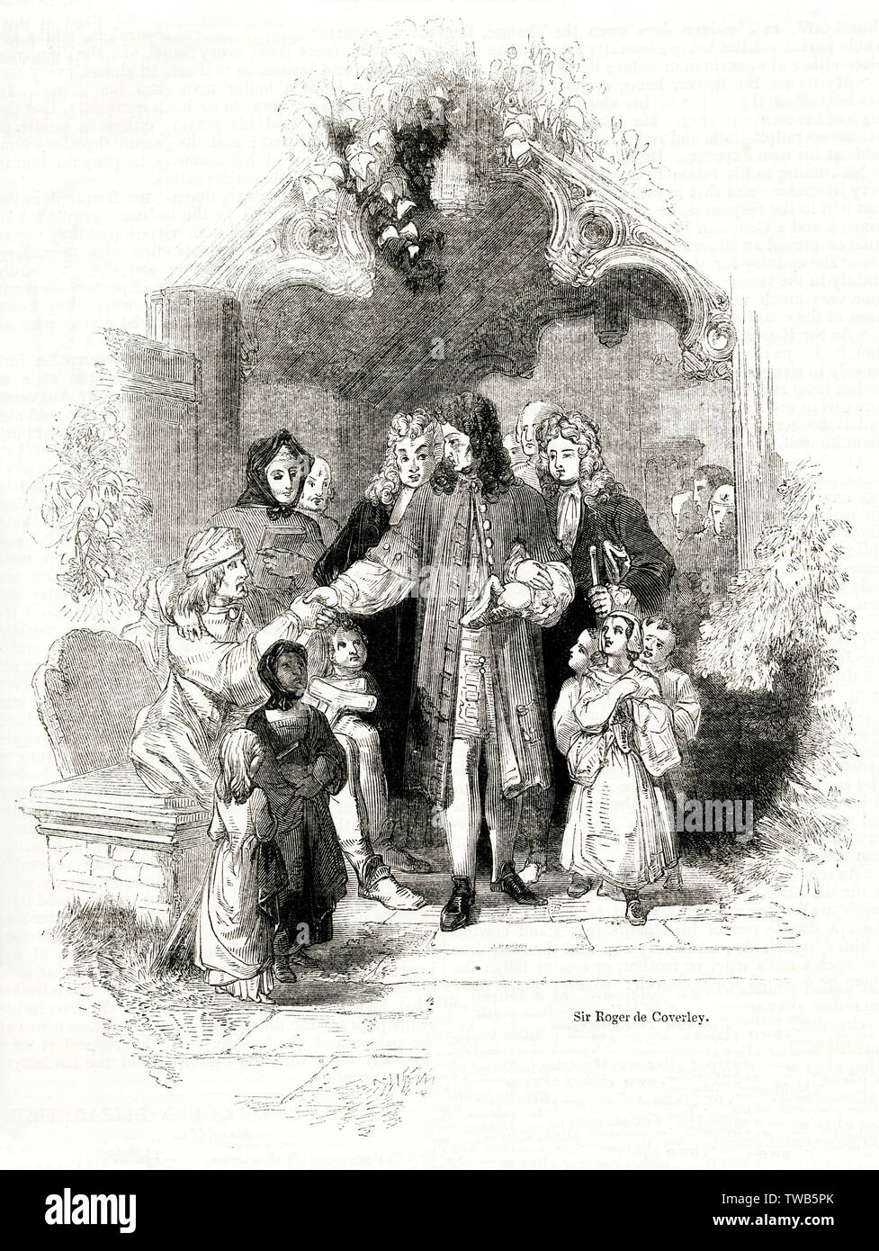 Sir Roger de Coverley, a fictitious country squire character created by Joseph Addison in The Spectator in the early 18th century, after whom a dance was named. Seen here coming out of church, surrounded by his affectionate tenants.      Date: 1843 - Stock Image