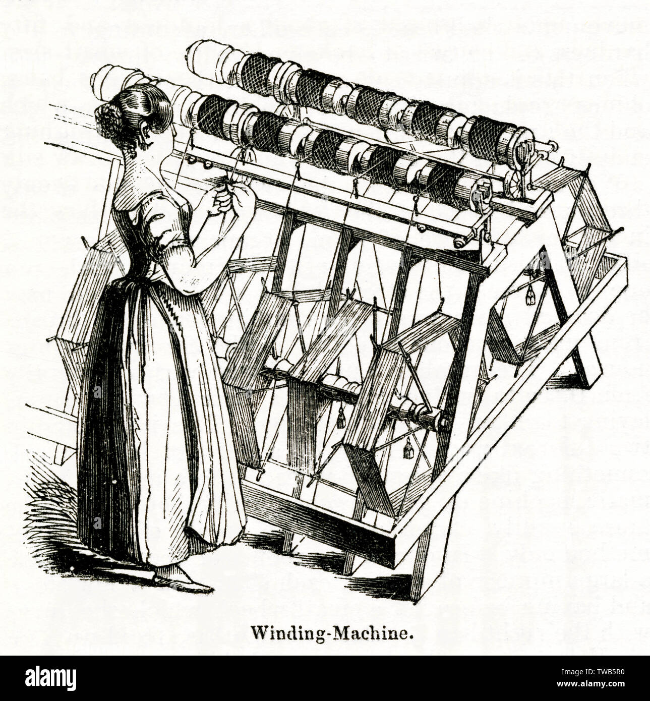 Woman operating a winding machine at the Old Silk Mill, Derby.      Date: 1843 - Stock Image