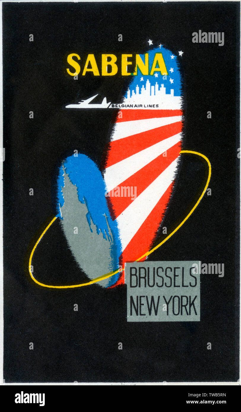 Travel Luggage Label for Sabena Belgian Air Lines.     Date: circa 1960s Stock Photo