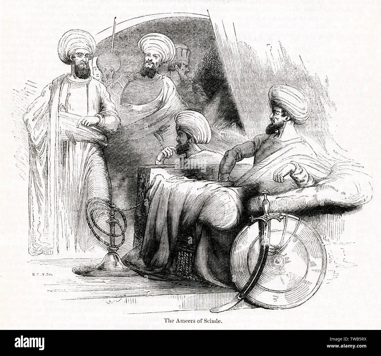 Amirs (commanders) of Scinde, an Indian ethnic group from Sindh (now a province of Pakistan).      Date: 1843 - Stock Image