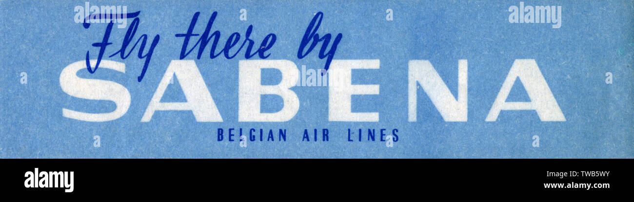 Travel Luggage Label for Sabena Belgian Air Lines     Date: circa 1960s Stock Photo