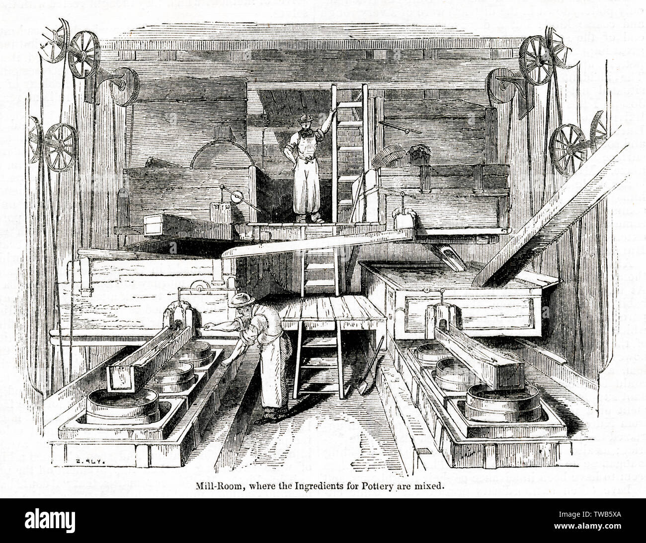 Mill Room where the ingredients are mixed, Staffordshire Potteries.     Date: 1843 - Stock Image