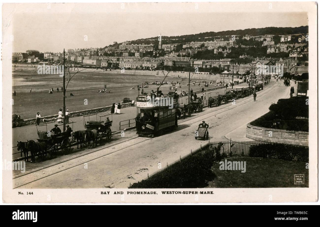 Bay and Promenade, Weston-Super-Mare, Somerset.      Date: 1916 - Stock Image