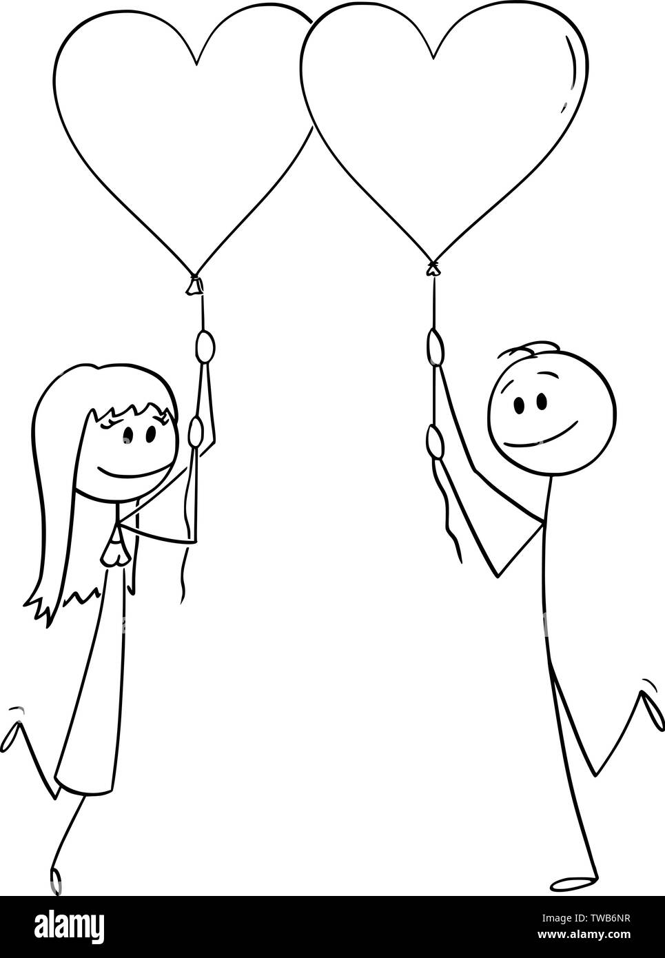 Vector cartoon stick figure drawing conceptual illustration of heterosexual couple of man and woman on date holding heart shaped balloons and smiling. - Stock Image