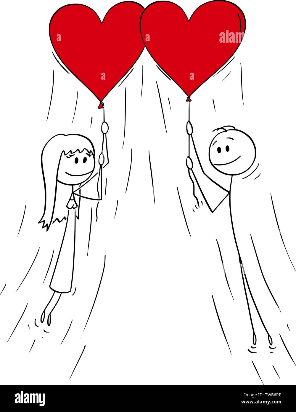 Vector cartoon stick figure drawing conceptual illustration of heterosexual couple of man and woman on date flying on red heart shaped balloons and smiling. - Stock Image
