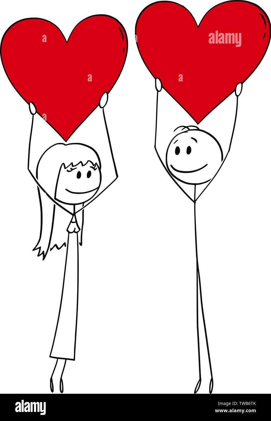Vector cartoon stick figure drawing conceptual illustration of heterosexual couple of man and woman on date holding big red hearts. - Stock Image