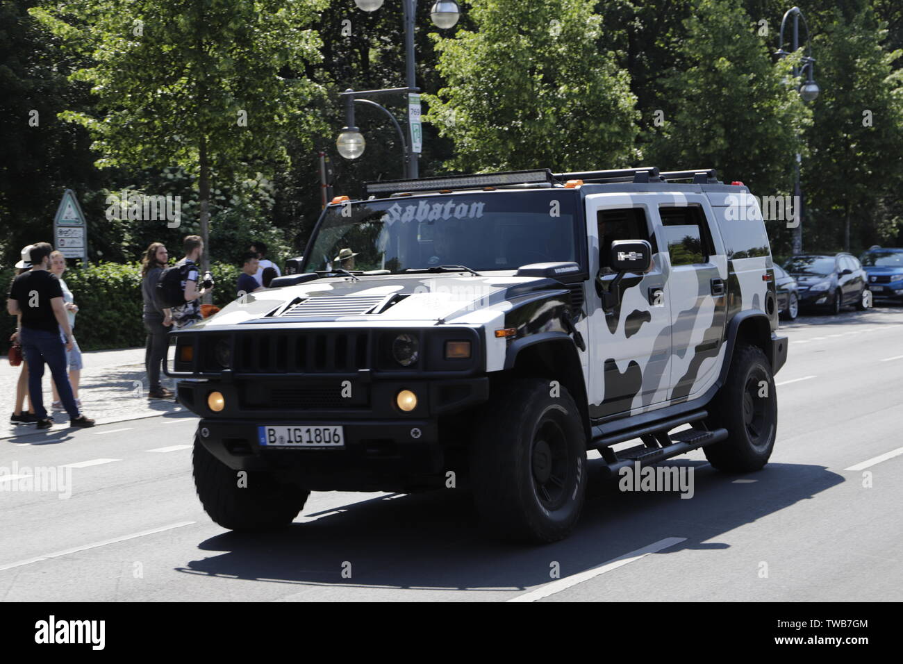 Hummer car in the streets of Berlin, Germany Stock Photo