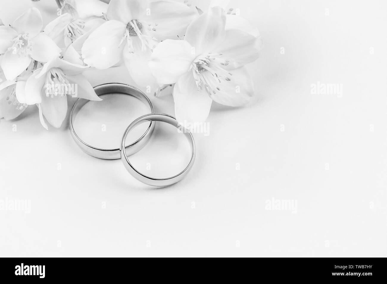 pair of gold wedding rings and white Jasmine flowers on white background with copy space, black and white photo - Stock Image