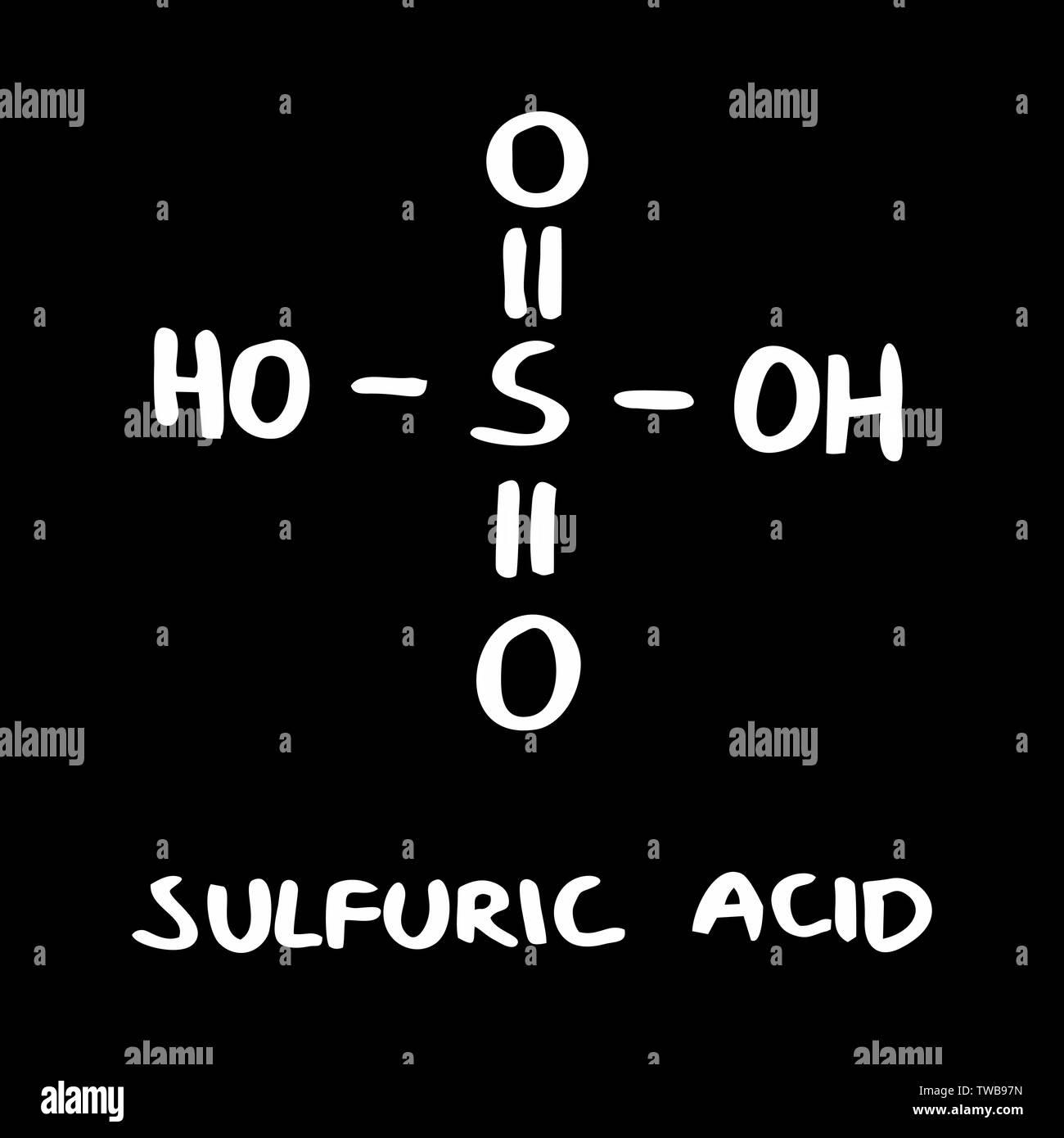 Freehand illustration of the Sulfuric acid formula on dark background - Stock Vector