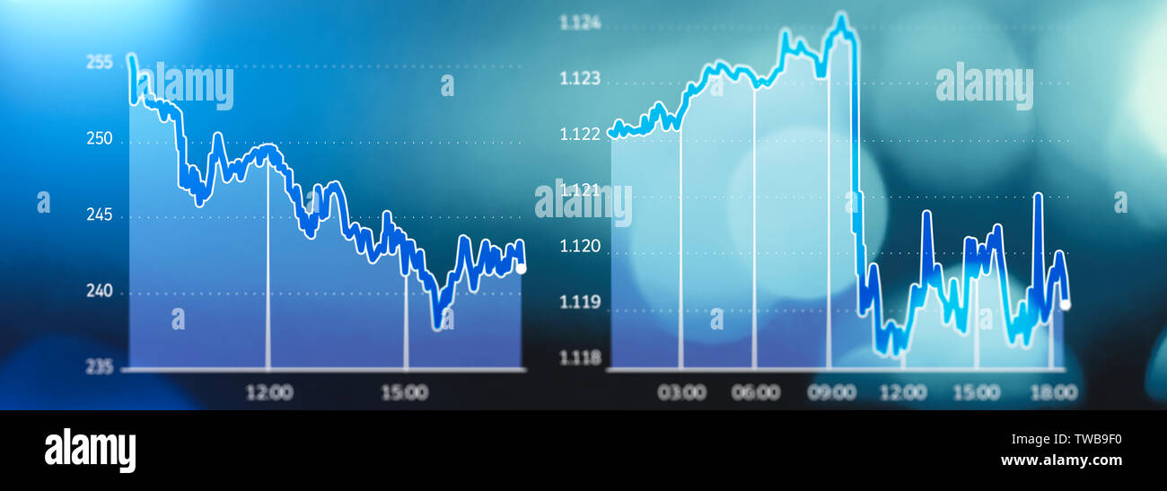 Stock market trends, market crash, lost earnings, bankrupt. Graphic display of market shares in free fall. Blue background - Stock Image
