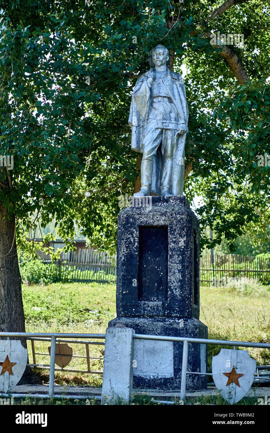 Monument to Felix Dzerzhinsky in the Kamenny Karier (village of stone quarry), eastern Kazakhstan, near from the city of Ust-Kamenogorsk - Stock Image