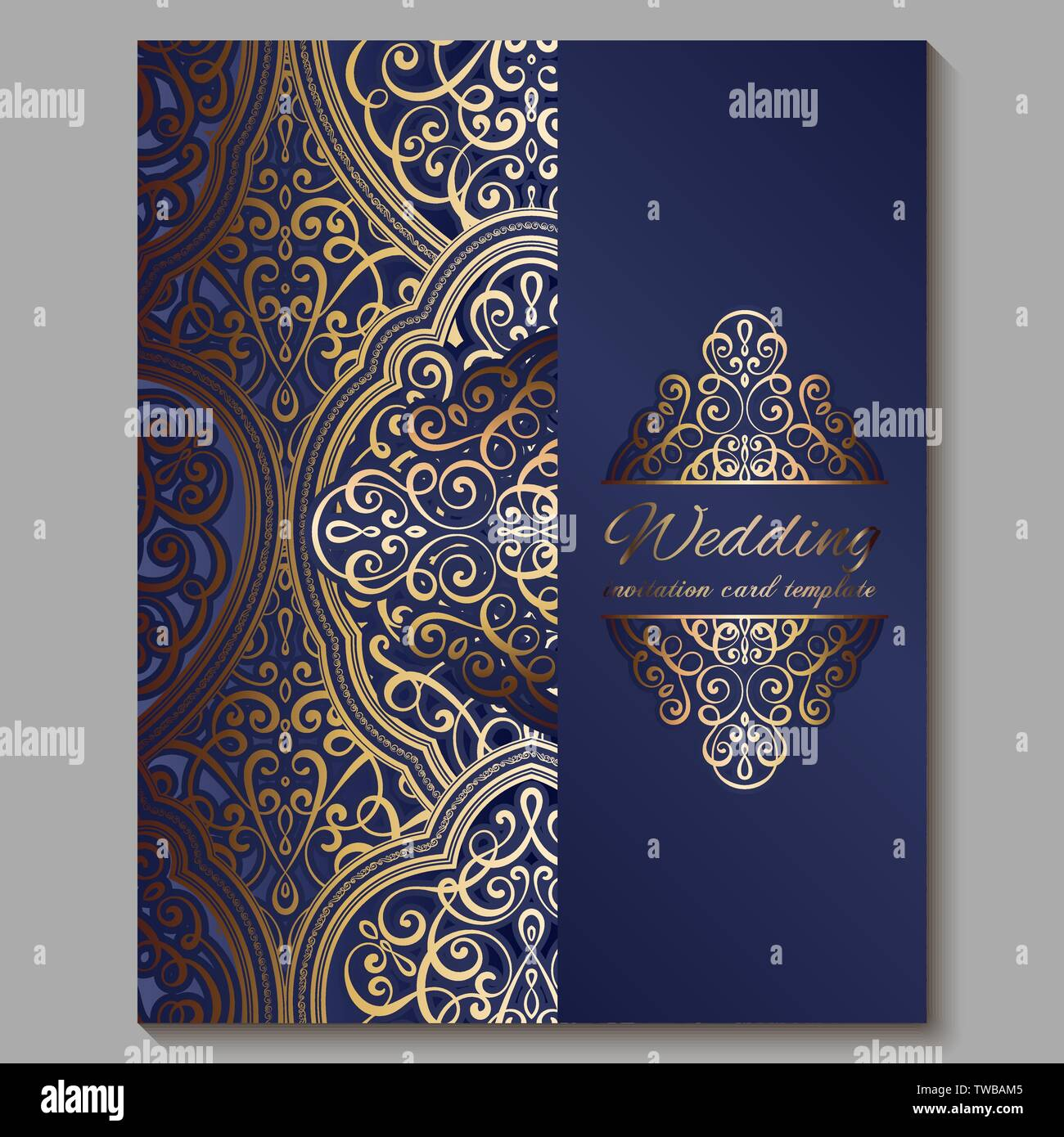 Wedding Invitation Card With Gold Shiny Eastern And Baroque Rich Foliage Royal Blue Ornate Islamic Background For Your Design Islam Arabic Indian Stock Vector Image Art Alamy