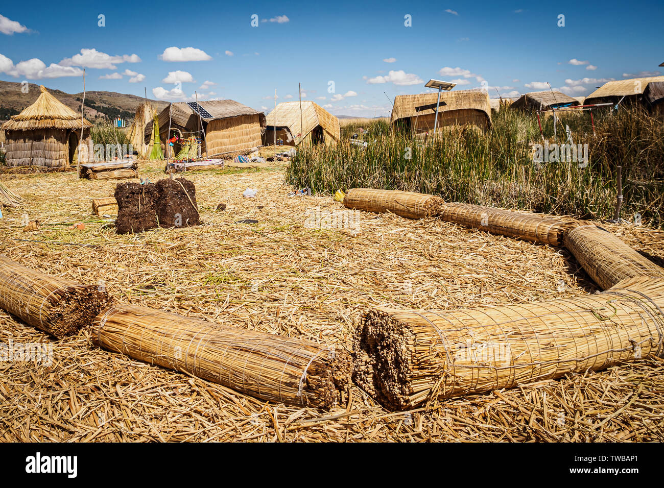 Island made of totora by the Uros on Lake Titicaca in Peru. Hand made contruction - Stock Image