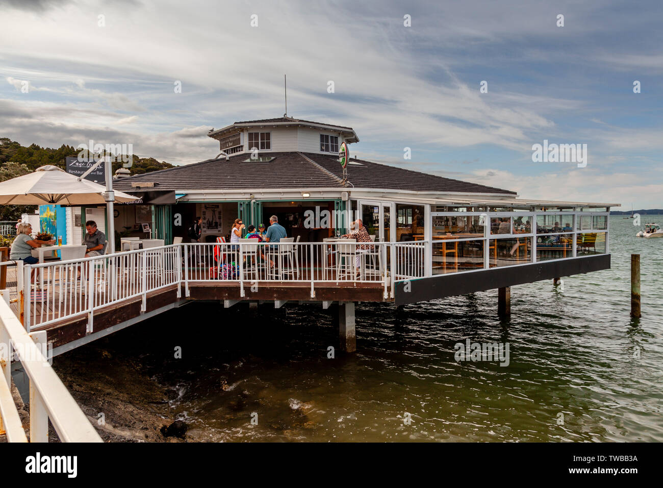 Seaside Cafe, Paihia, The Bay Of Islands, North Island, New Zealand - Stock Image